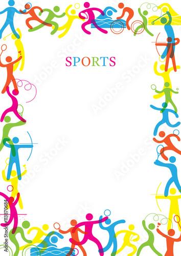 """Sports Colorful Frame, Sports, athletics, Games, Symbol ..."