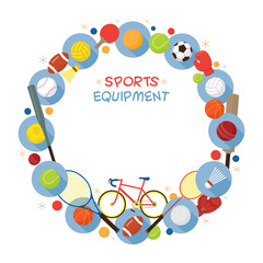 Sports Equipment, Flat Icons Frame, Objects, Recreation and Leisure
