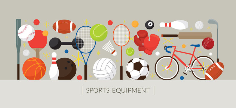 Sports Equipment, Flat Icons Display Banner, Objects, Recreation and Leisure