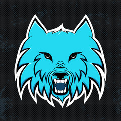 Blue wolf modern vector illustration for logo for a sport team.
