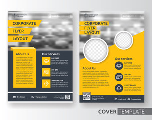 Multipurpose business corporate flyer layout design. Suitable for flyer, brochure, book cover and annual report. Yellow and black color in A4 size template background with bleeds. Vector illustration