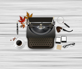 Top view of Hipster theme still life. Typewriter and other objects. Vector illustration.
