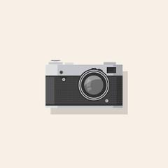Detailed Retro Camera Flat Illustration, Camera icon