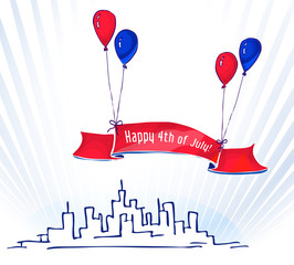 Skyline cityscape and banner during Independence Day. Colorful blue and Red balloons holding up a banner or ribbon with inscription Happy 4th of July