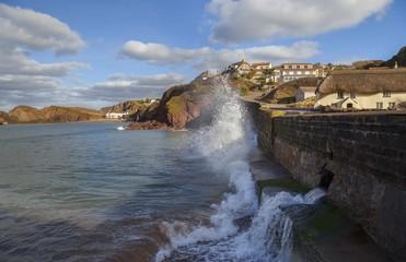 Waves crashing at Hope Cove, Devon, England