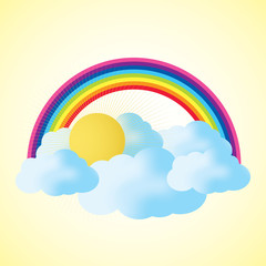 Cloud and Rainbow with Text Space, abstract vector background