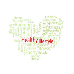 health heart word cloud, health concept on whtie background.