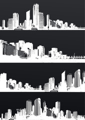 Inverted set of black and white panorama cities.