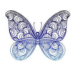 hand drawn ink doodle butterfly on white background. Coloring page - zendala, design for adults, poster, print, t-shirt, invitation, banners, flyers.