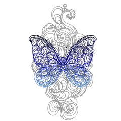hand drawn ink doodle butterfly on white background. design for poster, print, t-shirt, invitation, banners, flyers. vector eps 10