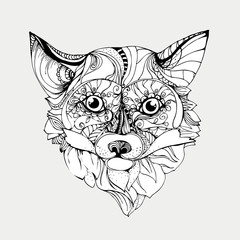hand drawn ink doodle fox on white background. Coloring page - zentagle, design for adults, poster, print, t-shirt, invitation, banners, flyers. vector eps 8.