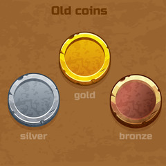 gold, silver and bronze old coins, resource gaming element