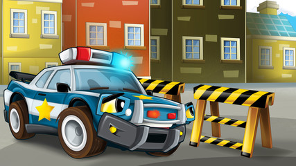 Cartoon scene of police pursuit - policeman is waiting on barricade - illustration for children