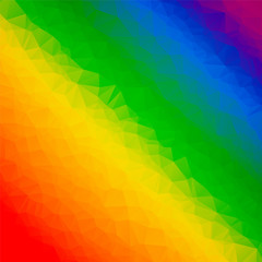 Rainbow colorful abstract geometrical background with triangular shapes. Vector illustration in LGBT colors. Symbol of peace, gay culture. Pride Month low poly style template.
