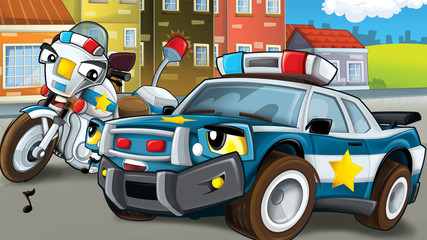 Cartoon scene of police pursuit - illustration for children