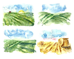 Watercolor landscape with fields and farms.