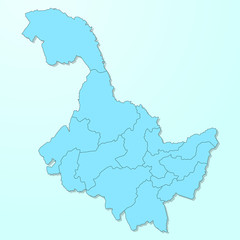 Heilongjiang blue map on degraded background vector