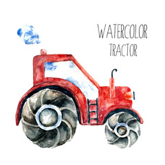 Watercolor red tractor.