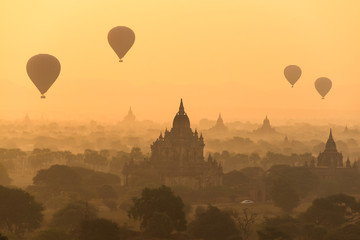 Hot air balloon at sunise , bagan , myanmar