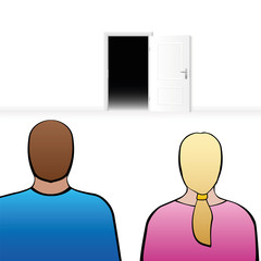 Couple looking at an open door, as a symbol for expectation, anticipation, anxiety about the future or other surprises in partnership.