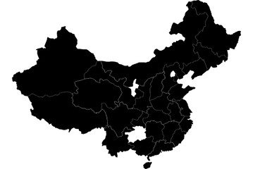 China country map detailed visualisation in black