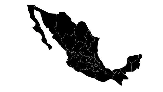 Mexico country map detailed visualisation in black