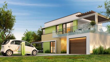 Electric car near a beautiful home