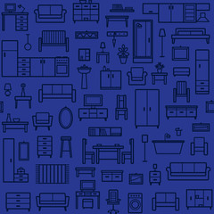 Vector seamless pattern background with home furniture outline icons 7
