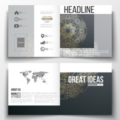 Set of square design brochure template. Round golden technology pattern on dark background, mandala  with connecting lines and dots, connection structure. Digital scientific vector