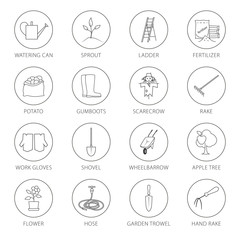 Set of Garden Tools, Round Thin Line Icons Gardening Equipment and Name , Agricultural Tool , Black and White Vector Illustration