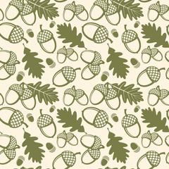 Wall Mural - Oak leaves and acorns vector seamless pattern