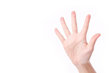 hand palm with five fingers, studio isolated