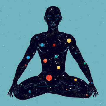 Yoga lotus position. Yoga man silhouette.