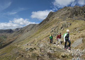 England, Cumbria, Lake District, Wasdale Valley, Great Gable, climbers