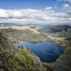 England, Cumbria, Lake District, Langdale, Pavey Ark and Stickle Tarn, Jack's Rake, climber