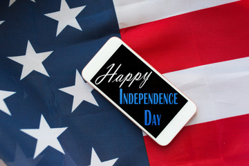 close up of cellphone on american independence day