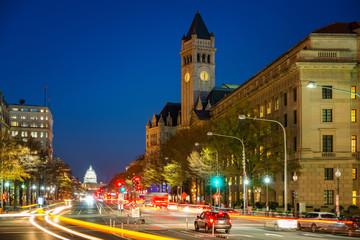 Pennsylvania Avenue, Old post building and Capitol at night, Washington DC, USA
