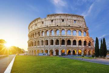 View of Colosseum in Rome at sunrise