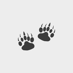 Paw icon in a flat design in black color. Vector illustration eps10