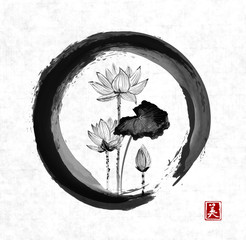 Lotus flowers in black enso zen circle on white backgroiund. Traditional Japanese ink painting sumi-e. Contains hieroglyph - beauty