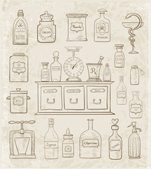 Sketches of vintage drugstore objects on vintage background. Pharmacy bottles, mortar and pestle, old apothecary cabinet, scales etc.