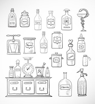Sketches of vintage drugstore objects on white background. Pharmacy bottles, mortar and pestle, old apothecary cabinet, scales etc.