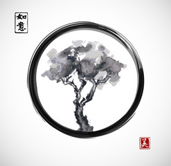 Obraz Pine tree in black enso zen circle. Traditional Japanese ink painting sumi-e. Contains hieroglyphs - dreams come true, beauty - fototapety do salonu