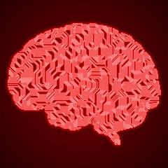 Red neon digital brain