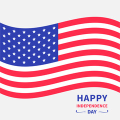 Waving American flag. Happy independence day United states of America. 4th of July. Isolated. Whte background. Greeting card. Flat design.