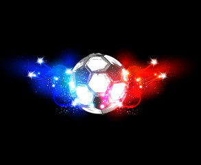 France football light banner with a soccer ball easy all editabl