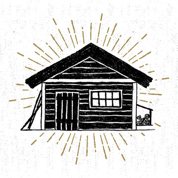 Hand drawn icon with a textured wooden cabin vector illustration.