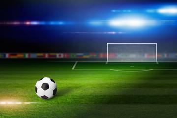 Soccer ball on soccer stadium