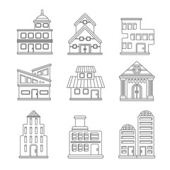 Set of buildings icons