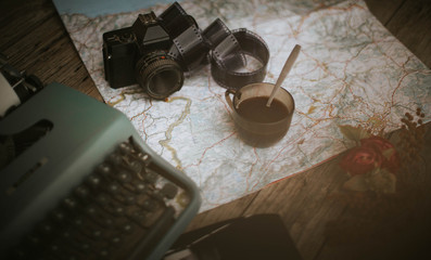 Wooden Table with Vintage Travel Accesories